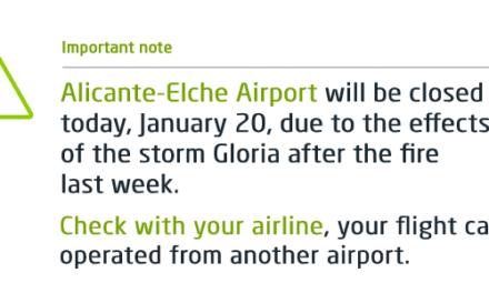 Feuer und Sturm legen Flughafen Alicante lahm